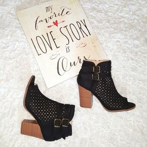 Perforated Chunky Ankle Booties